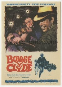 9m112 BONNIE & CLYDE Spanish herald 1968 art of Warren Beatty & Faye Dunaway by Mac Gomez!
