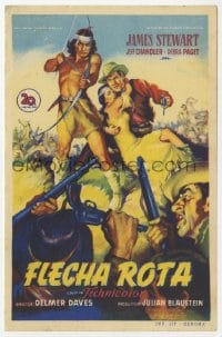 9m117 BROKEN ARROW Spanish herald 1951 Soligo art of James Stewart rescuing sexy Indian Debra Paget