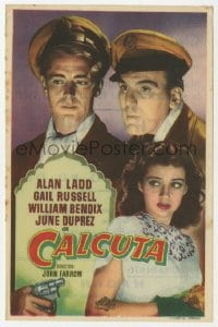 9m118 CALCUTTA Spanish herald 1950 c/u of Alan Ladd, sexy Gail Russell & William Bendix in India!