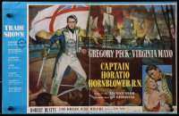 9m015 CAPTAIN HORATIO HORNBLOWER English trade ad 1951 Gregory Peck with sword & Virginia Mayo!