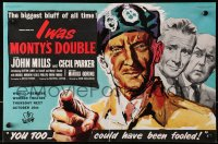 9m022 I WAS MONTY'S DOUBLE English trade ad 1958 M.E. Clifton-James as himself, art of John Mills!