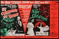 9m023 IT CONQUERED THE WORLD/SHE-CREATURE English trade ad 1956 twin terror show tops them all!