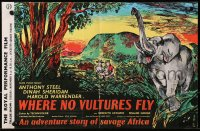9m024 IVORY HUNTER English trade ad 1952 great art of hunters & elephant, Where No Vultures Fly!