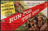 9m031 RUN FOR THE SUN English trade ad 1956 Richard Widmark finds Nazi criminals in Central America!