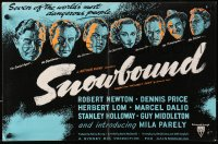9m034 SNOWBOUND English trade ad 1948 Robert Newton, Lom, Dalio & others look for Nazi treasure!