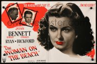 9m039 WOMAN ON THE BEACH English trade ad 1948 go ahead and say it, sexy Joan Bennett is no good!
