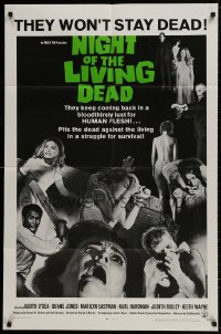 9p612 NIGHT OF THE LIVING DEAD 1sh 1968 George Romero classic, light green title design!