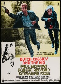 9t005 BUTCH CASSIDY & THE SUNDANCE KID Danish R1970s different, Paul Newman & Robert Redford!