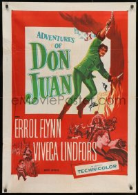 9t023 ADVENTURES OF DON JUAN Indian R1950s Errol Flynn made history when he made love to Lindfors!