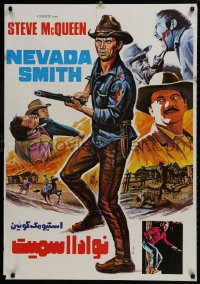 9t056 NEVADA SMITH Iranian 1966 completely different art of McQueen with English blue title!
