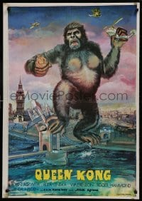 9t058 QUEEN KONG Iranian 1977 fantastic art of giant ape terrorizing Big Ben in London!