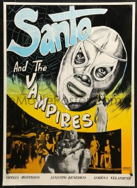 9t059 SAMSON VERSUS THE VAMPIRE WOMEN Iranian 1966 different art of Mexican masked wrestler Santo!