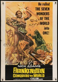 9t048 FRANKENSTEIN CONQUERS THE WORLD Lebanese 1966 Toho, different art of monsters terrorizing!