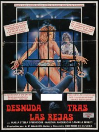 9t033 A PRISAO Mexican poster 1980 Maria Stella Splendore, women in prison & sexy border art!
