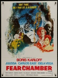 9t035 FEAR CHAMBER export Mexican poster 1968 cool close-up artwork of Boris Karloff, horror!