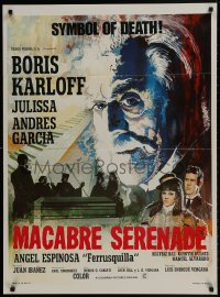 9t036 HOUSE OF EVIL export Mexican poster 1968 wonderful huge headshot artwork of Boris Karloff