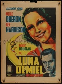 9t037 OVER THE MOON Mexican poster 1940 Merle Oberon, Harrison, Juan Antonio Vargas Ocampo art!