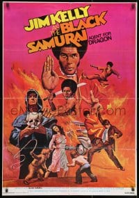 9t019 BLACK SAMURAI Middle Eastern poster 1977 Jim Kelly, kung fu martial arts action artwork!