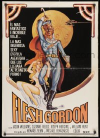 9t020 FLESH GORDON South American 1974 sexy sci-fi spoof, wacky erotic super hero art by George Barr!