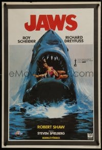 9t067 JAWS Turkish 1981 best different art of classic man-eating shark with sexy girl in mouth!