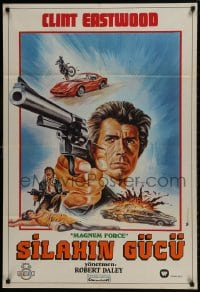 9t068 MAGNUM FORCE Turkish 1973 different art of Clint Eastwood pointing his huge gun by Omer Muz!