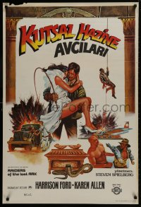 9t070 RAIDERS OF THE LOST ARK Turkish 1983 cool completely different art of Harrison Ford by Muz!