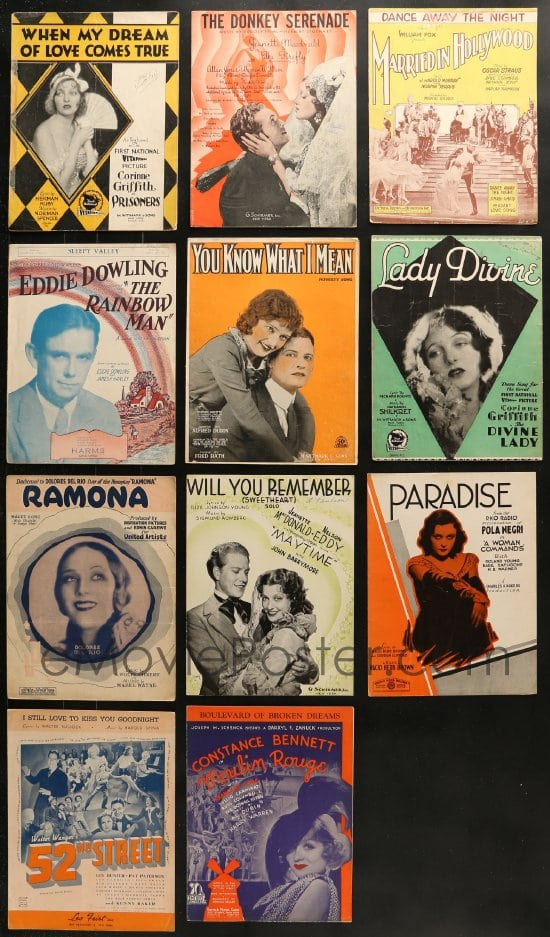 eMoviePoster com: 9x020 LOT OF 11 SHEET MUSIC 1920s-1930s