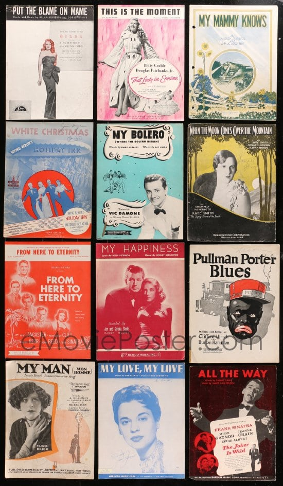 eMoviePoster com: 9x017 LOT OF 23 SHEET MUSIC 1920s-1940s