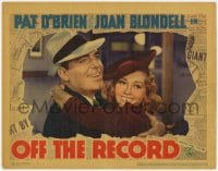 9y732 OFF THE RECORD LC 1939 wonderful close up of newspaper reporters Pat O'Brien & Joan Blondell!