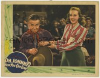 9y733 OH JOHNNY HOW YOU CAN LOVE LC 1940 close up of pretty Peggy Moran grabbing Donald Meek's arm!