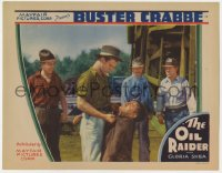 9y734 OIL RAIDER LC 1934 three men watch tough Buster Crabbe threaten guy by oil rig!