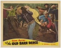 9y737 OLD BARN DANCE LC R1943 close up of Gene Autry throwing man over his shoulder in brawl!