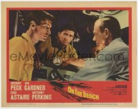 9y740 ON THE BEACH LC #3 1959 c/u of Gregory Peck, Fred Astaire & Anthony Perkins in submarine!