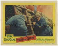 9y750 PATHS OF GLORY LC #2 1958 Stanley Kubrick, Kirk Douglas in trench about to attack the Anthill