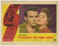 9y758 PLACE IN THE SUN LC #1 1951 romantic close up of Montgomery Clift & Shelley Winters!
