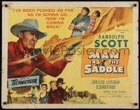 9z898 MAN IN THE SADDLE 1/2sh 1951 cowboy Randolph Scott in western action, white title!