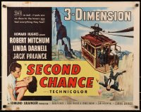 9z941 SECOND CHANCE style B 3D 1/2sh 1953 cool art of Robert Mitchum, sexy Linda Darnell & cable car!