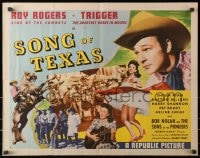 9z957 SONG OF TEXAS style A 1/2sh 1943 art of Roy Rogers riding Trigger & playing guitar for girl!