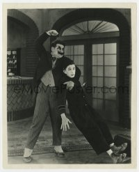 1a110 BELL HOP 8x10 still 1921 angry Oliver Hardy grabs Larry Semon to beat him into the ground!