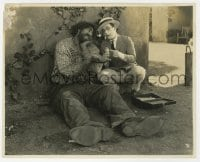 1a964 WHY WORRY 7.5x9.5 still 1923 Harold Lloyd gives giant John Aasen medicine for his toothache!