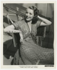 1a966 WIFE, DOCTOR & NURSE 8.25x10 still 1937 seated portrait of sexy Loretta Young in cool dress!