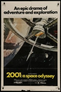 1b035 2001: A SPACE ODYSSEY 1sh R1980 Stanley Kubrick, art of space wheel by Bob McCall!