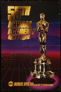 1b039 55TH ANNUAL ACADEMY AWARDS 1sh 1983 cool image of the golden Oscar statuette over city!