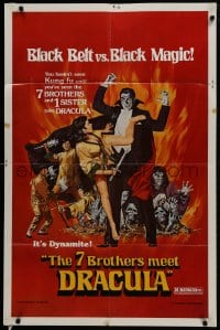 1b042 7 BROTHERS MEET DRACULA 1sh 1979 The Legend of the 7 Golden Vampires, kung fu horror art!