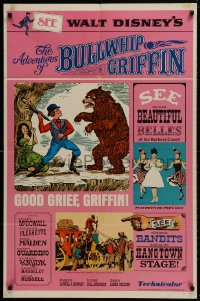 1b051 ADVENTURES OF BULLWHIP GRIFFIN style B 1sh 1966 Disney, man fights bear with umbrella!