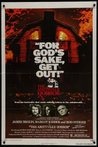 1b068 AMITYVILLE HORROR 1sh 1979 great image of haunted house, for God's sake get out!