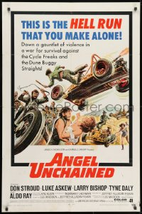 1b075 ANGEL UNCHAINED 1sh 1970 AIP, bikers & hippies, this is the hell run that you make alone!