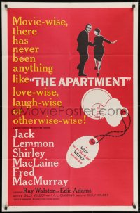 1b079 APARTMENT 1sh 1960 Billy Wilder, Jack Lemmon, sexy Shirley MacLaine, cool key-in-lock art!