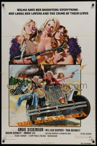 1b118 BIG BAD MAMA 1sh 1974 great John Solie art of sexy Angie Dickinson, female criminals w/guns!