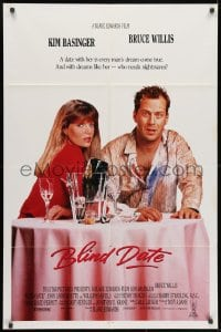 1b139 BLIND DATE int'l 1sh 1987 sexy Kim Basinger at table with down-on-his-luck Bruce Willis!